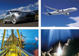 solutions by industy : automotive, aeronautics, aerospace and oil & gas