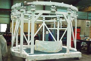 pinette revolving assembly frame for cylindrical structure of civil launchers
