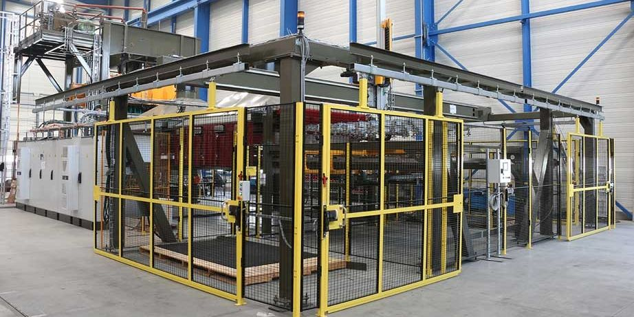 thermoforming line for composite parts production in automotive industry pinette pei